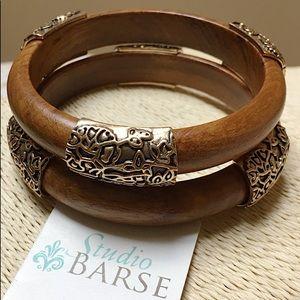 NEW BARSE Teakwood Brass Bangle Bracelet Set of 2